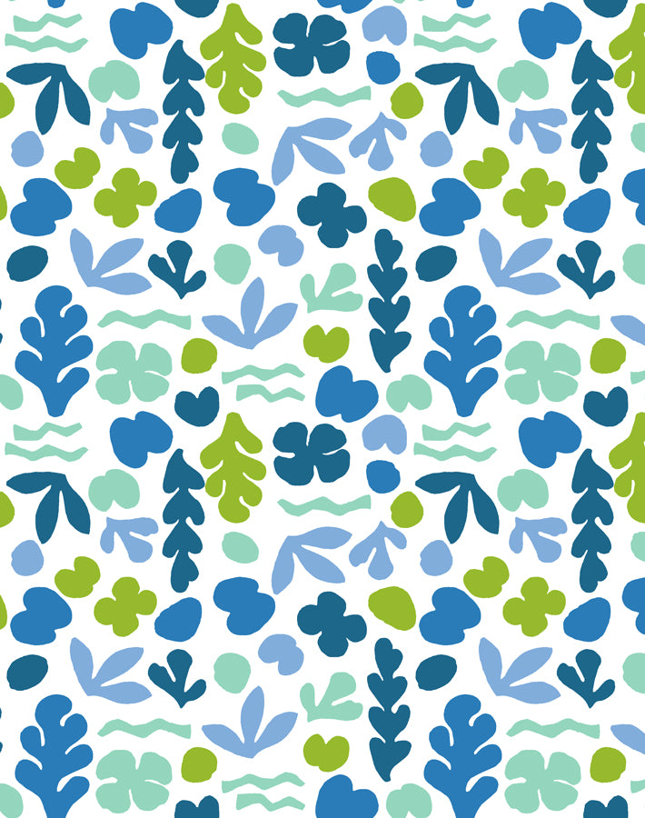 Sea Garden Small Lapis Lime  Wallpaper