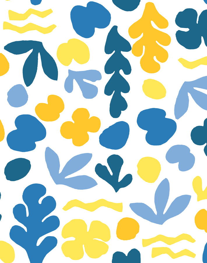 Sea Garden Gold Blue  Wallpaper