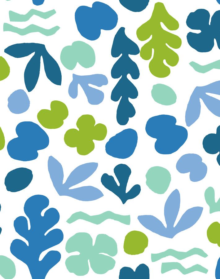 Sea Garden Lapis Lime  Wallpaper