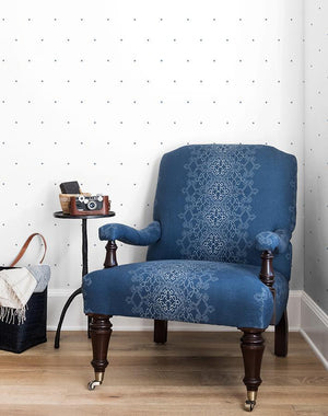 Signature Dot French Blue On White  Wallpaper