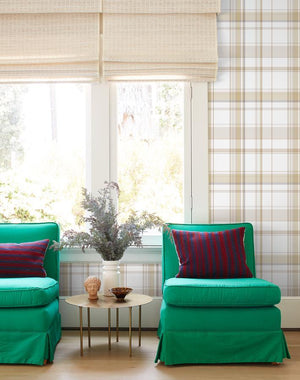 Sofia Plaid Straw  Wallpaper