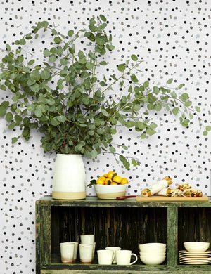 Splattered Black Neutral  Wallpaper