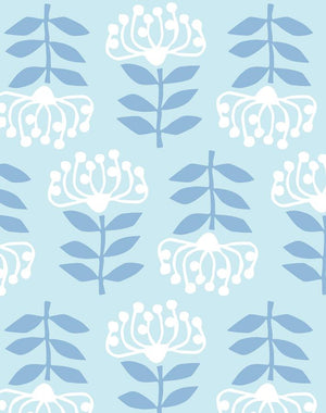 Stylized Papyrus Pale Blue  Wallpaper