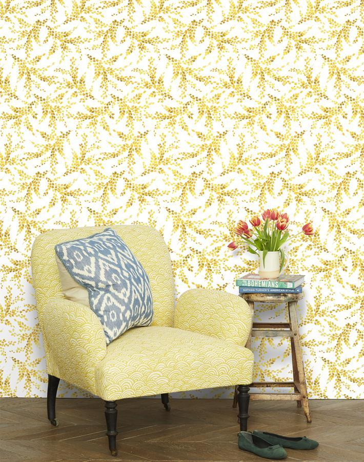 Sweet Caroline Yellow Traditional Peel Stick Wallpaper