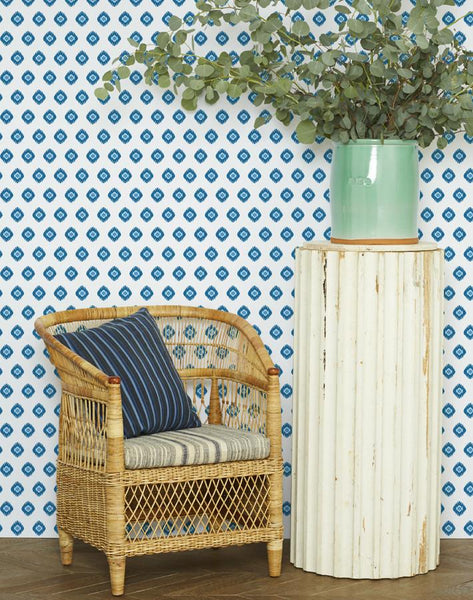Tangier Medallion Wallpaper - Blue - Wallshoppe