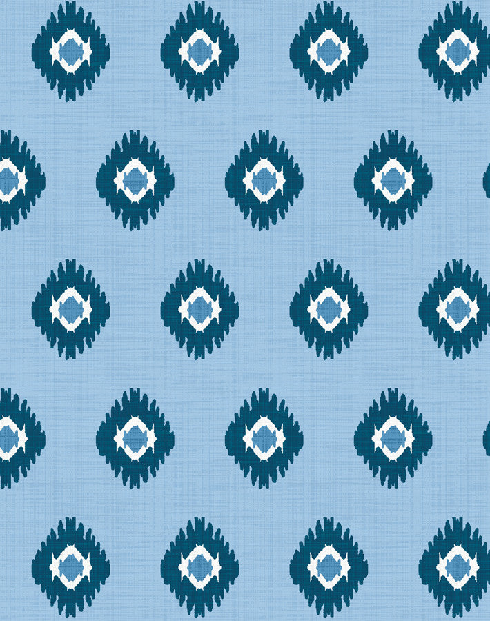 Tangier Medallion Wallpaper - Cornflower
