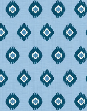 Tangier Medallion Cornflower  Wallpaper