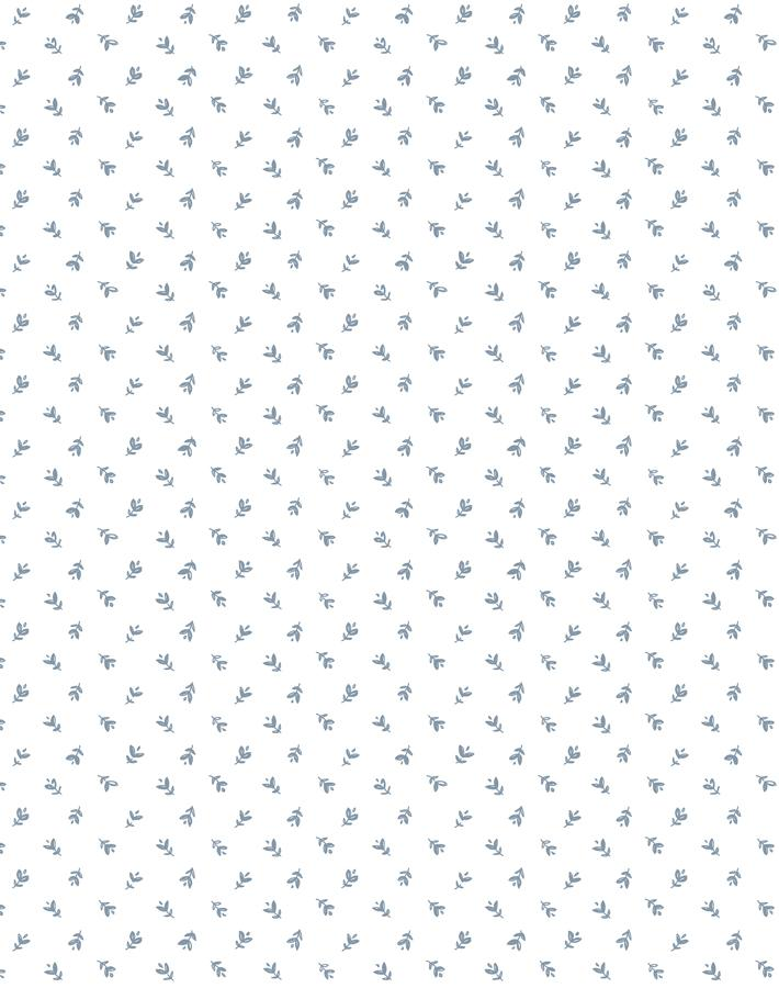 Teensy Floral French Blue On White  Wallpaper