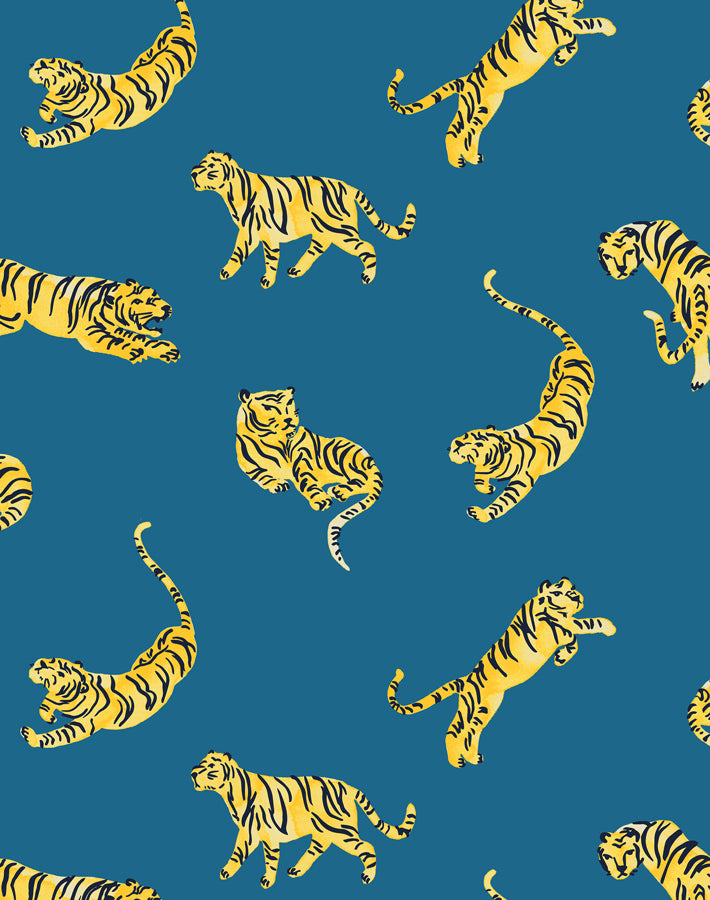 Tigers Cadet Blue  Wallpaper