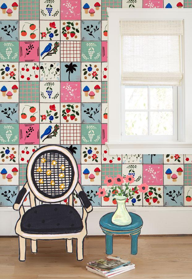 Topo Tile Wallpaper by Carly Beck - Wallshoppe Removable & Traditional Wallpaper