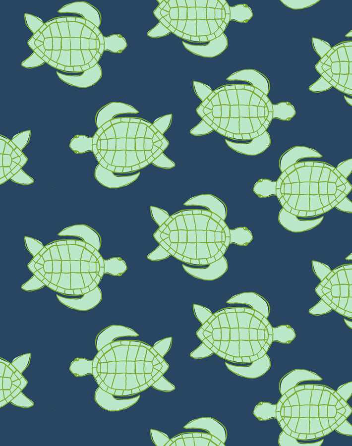 Trailing Turtles Navy  Wallpaper