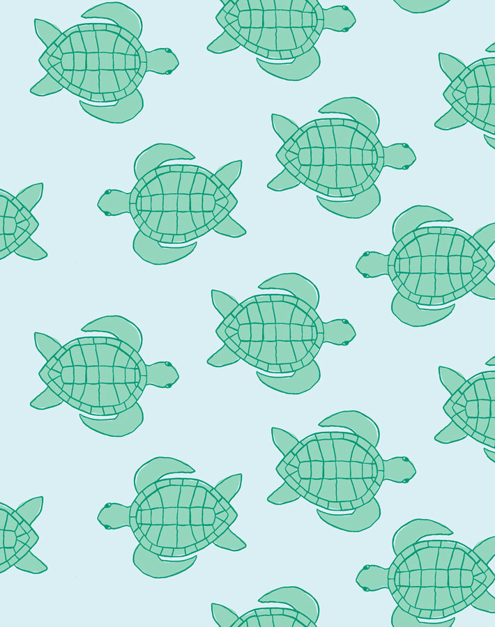 Trailing Turtles Pale Blue  Wallpaper