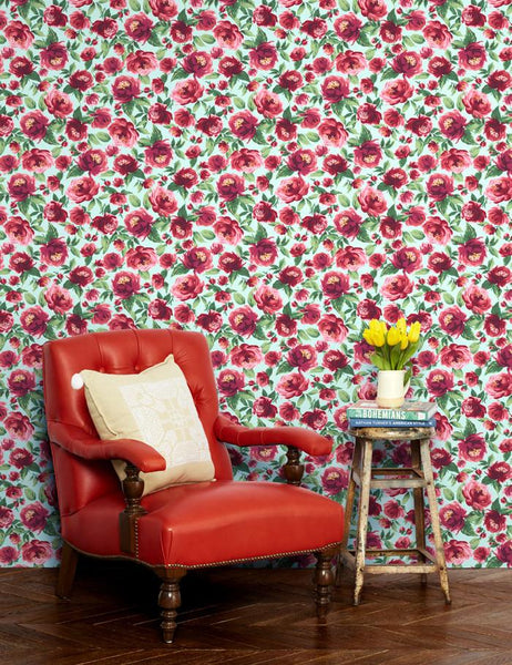 Veronica Wallpaper - Robin's Egg - Wallshoppe