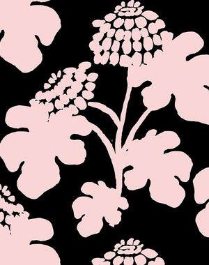 Casia Flowers Solid Black  Wallpaper