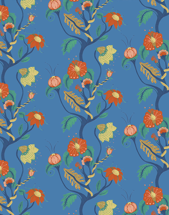 Frank Floral Blue  Wallpaper