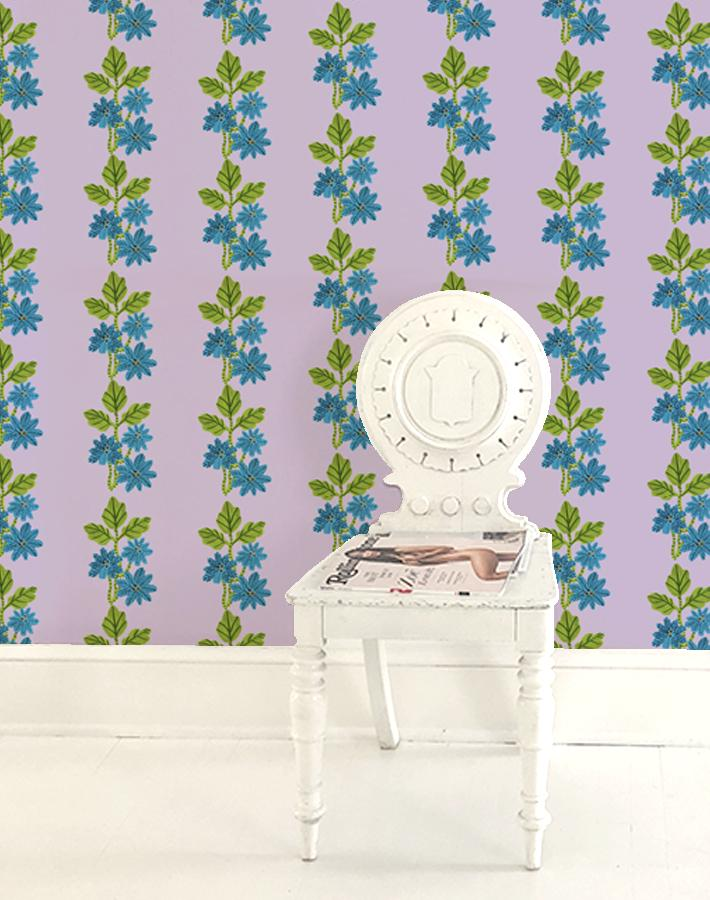 Lulu Stripe Lilac  Wallpaper