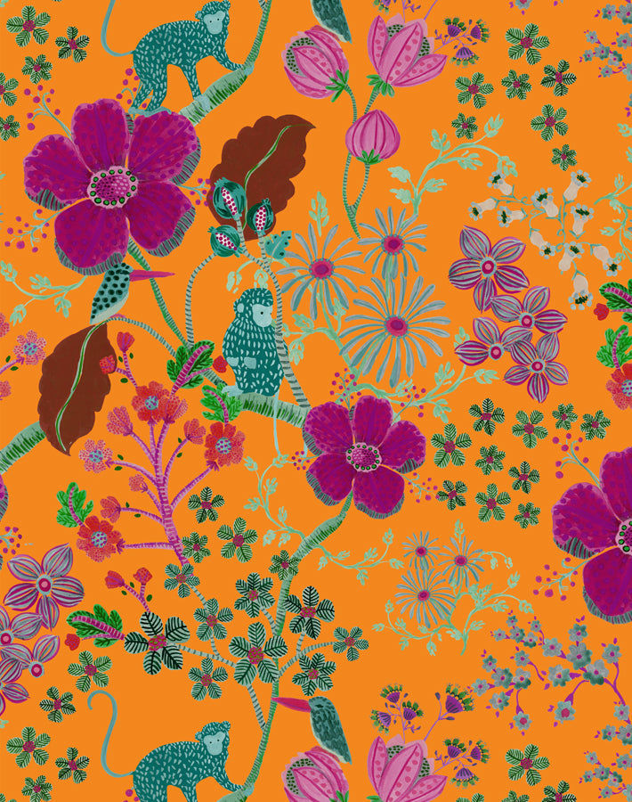 Monkey Garden Apricot  Wallpaper