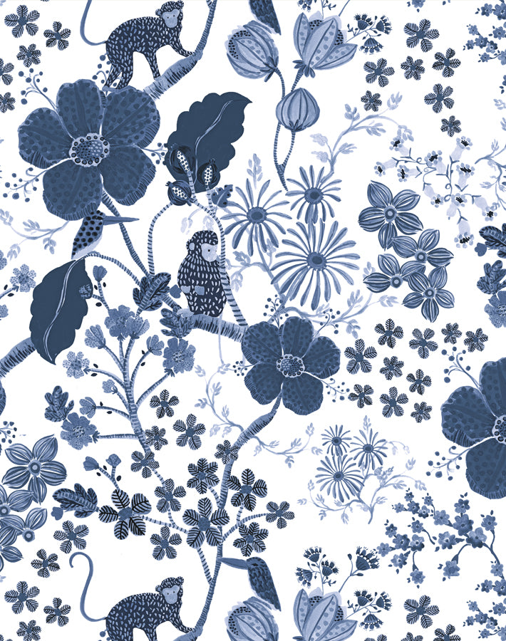 Monkey Garden - Navy - Wallshoppe
