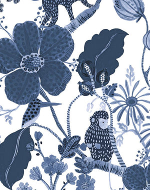Monkey Garden Navy  Wallpaper