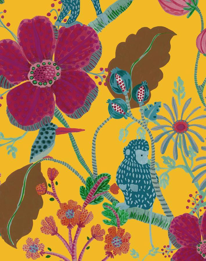 Monkey Garden Yellow Wallpaper