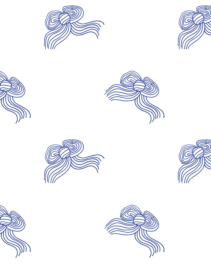Bows Wallpaper - Blue - Wallshoppe