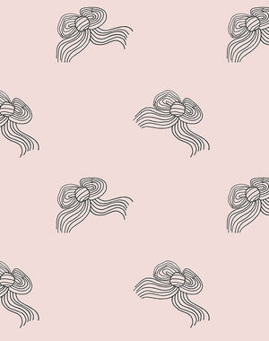 Bows Wallpaper - Charcoal Shell - Wallshoppe