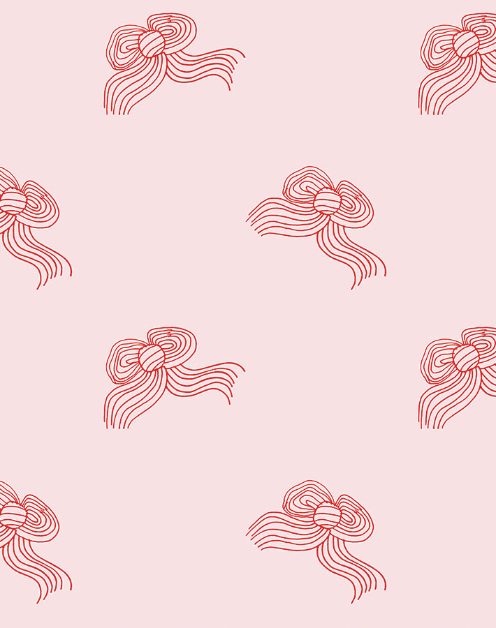 Bows Removable Wallpaper - Red Shell - Wallshoppe