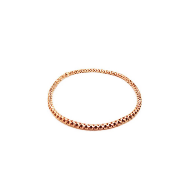 Italian Sterling Silver Rose Gold and Gold Stretch Bracelet