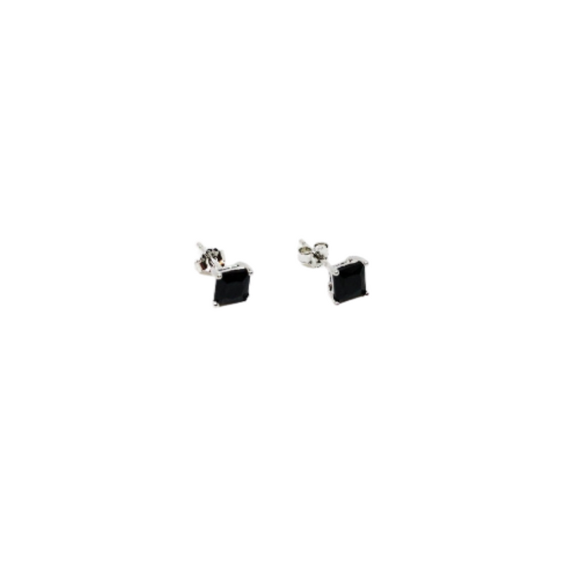 Sterling Silver Black Cubic Zirconia Stud Earrings
