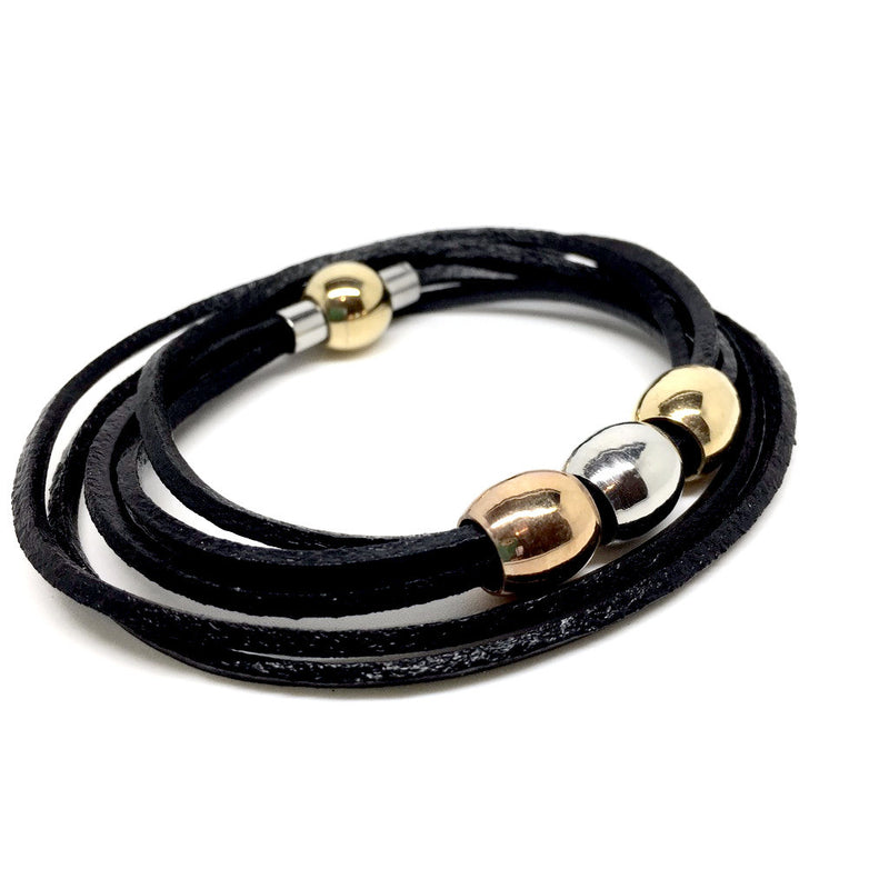 Leather Stainless Steel Bracelet with Magnet Closure -  Gold, Copper & Silver - Naked Nation - 2