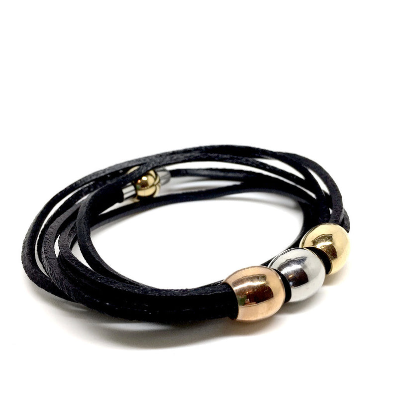 Leather Stainless Steel Bracelet with Magnet Closure -  Gold, Copper & Silver - Naked Nation - 1