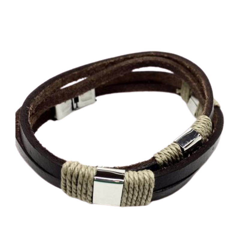 Men's Brown Leather Stainless Steel Bracelet