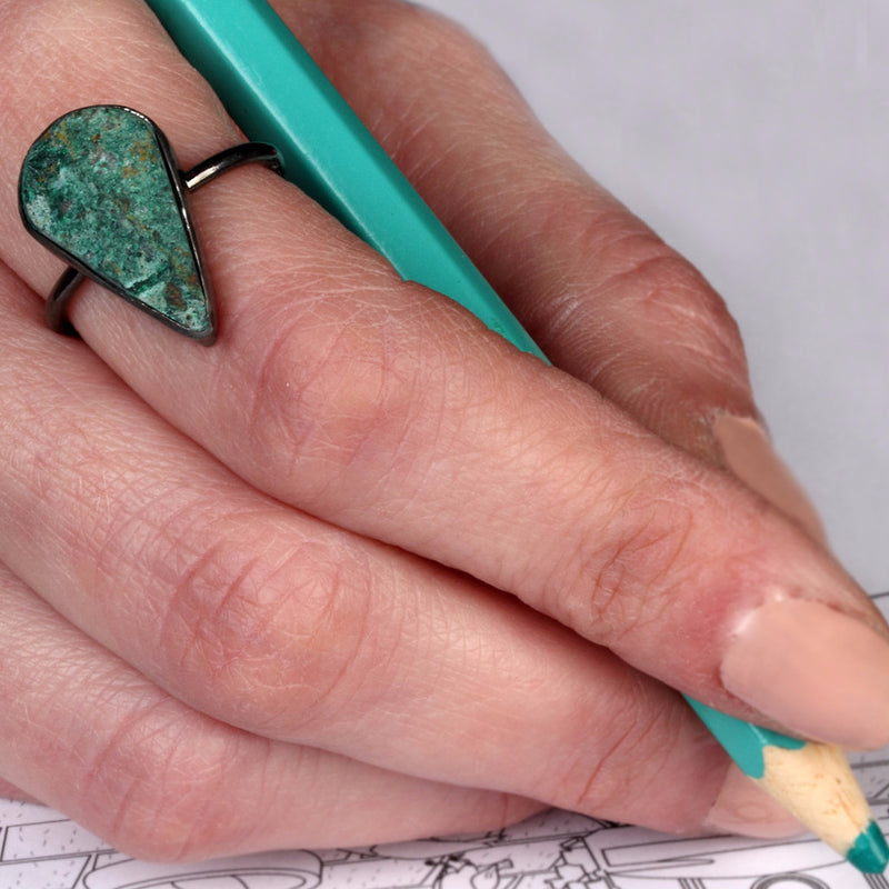 Adjustable ring for 'harmony, purification & hope' Chrysocolla Gemstone