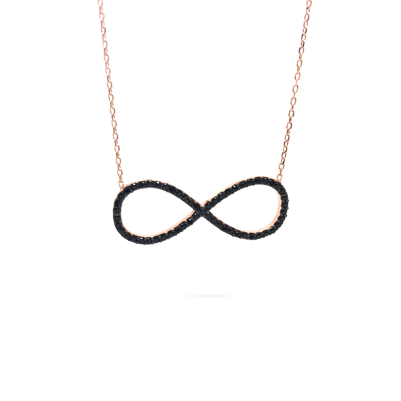 Italian Sterling Silver Infinity Necklace in Rose Gold and Black Stones