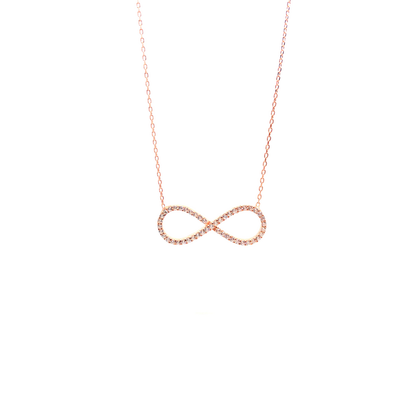 Italian Sterling Silver Infinity Necklace in Rose Gold and Crystals