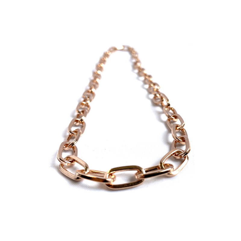 Circular Curb Chain, 925 Sterling Silver Rose Gold Necklace by Naked Nation