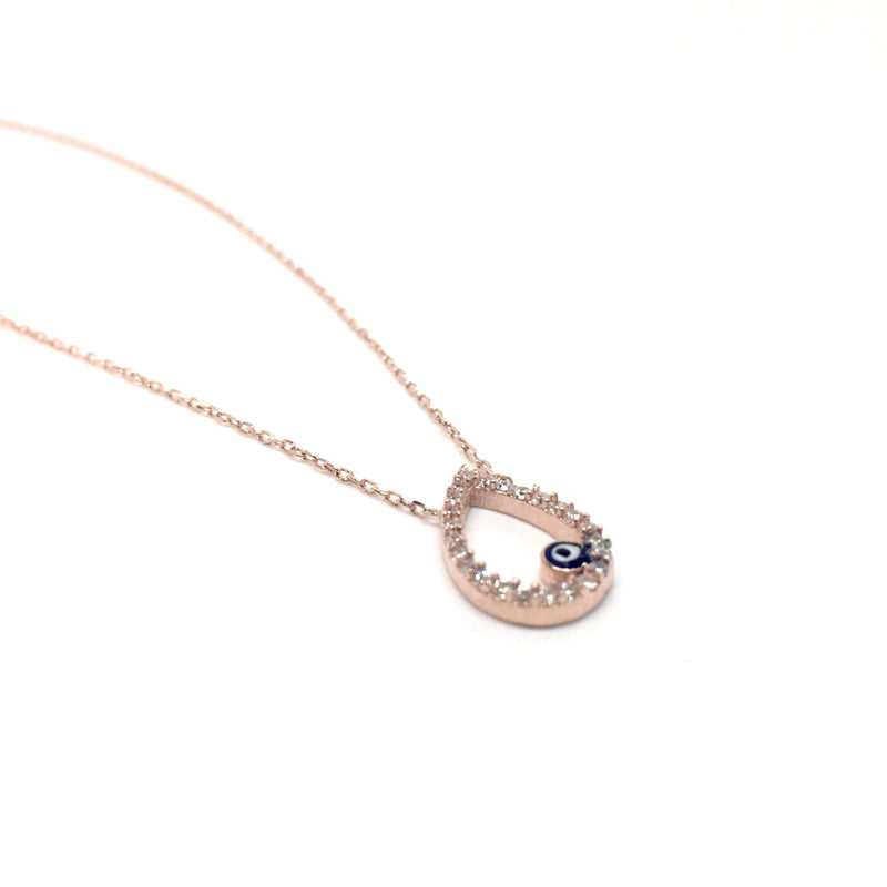 Sterling Silver Drop Pendant with Evil Eye (Turkish Eye)