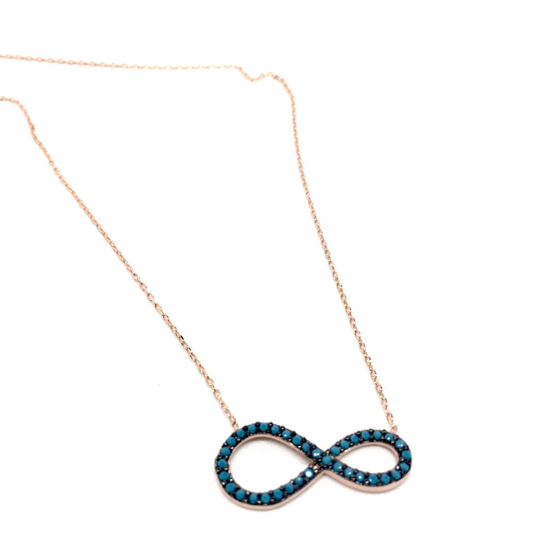 Sterling Silver Infinity Pendant with Blue Stones Necklace and luxurious gift box
