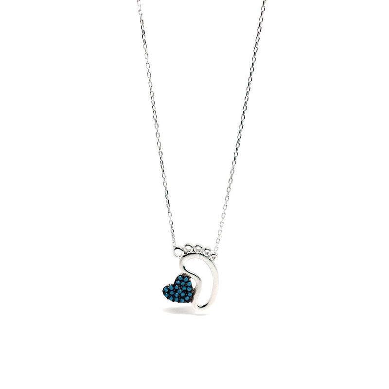 Jewellery for Mum - Baby Foot Necklace with Blue Heart