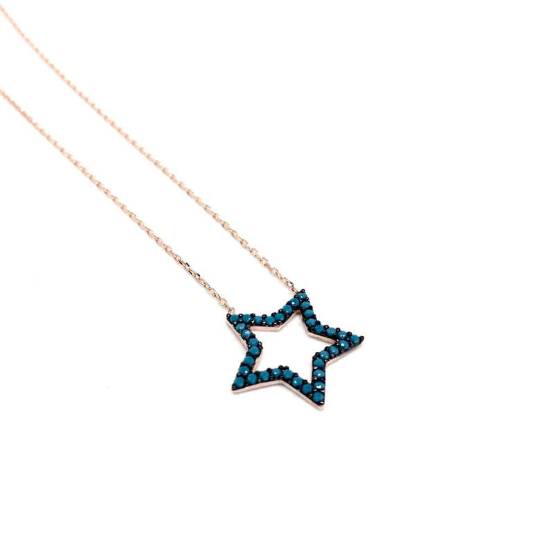 Delicate Blue Stones STAR Pendant 925 Sterling Silver Necklace (Rose Gold & Silver)