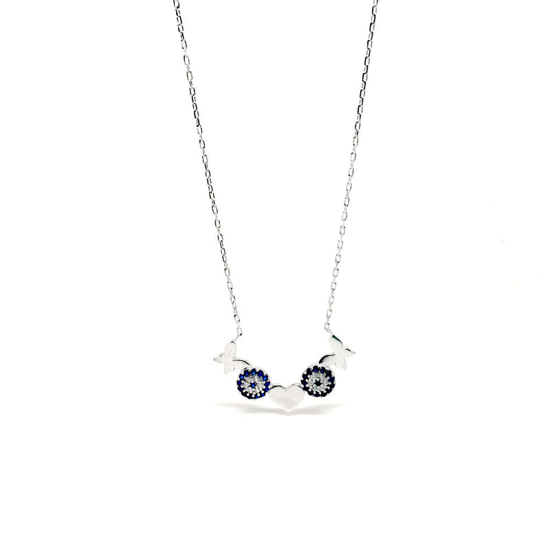 Sterling Silver Heart, Butterfly & Round Design Pendant Necklace - symbol of love and abundance