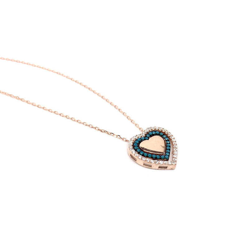 Rose Gold and Silver Cubic Zirconia Circle Heart Pendant Necklace