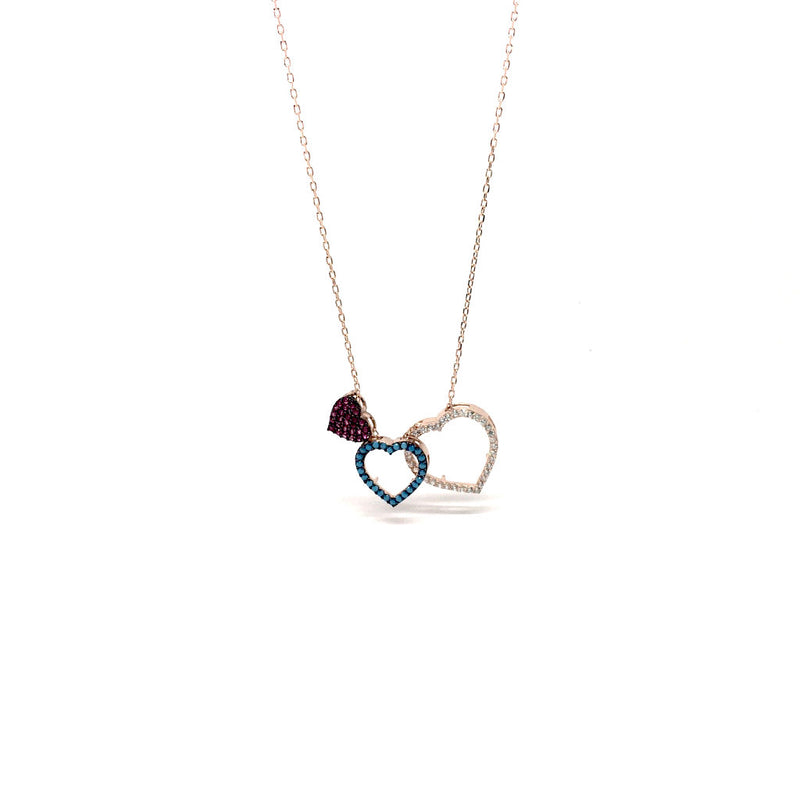Sterling Silver Rose Gold Triple Heart Cubic Zirconia Pendant Necklace