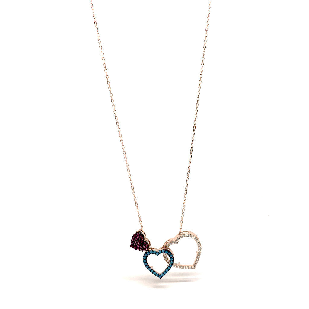 Rose gold triple heart crystals pendant necklace say it from the rose gold triple heart crystals pendant necklace say it from the heart aloadofball Images