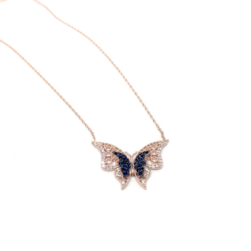 Silver and Clear Crystals Butterfly Necklace with Italian Gift Box by Naked Nation