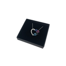 Sterling Silver Necklace with Small Black Pink and Blue Hearts Pendant by Naked Nation