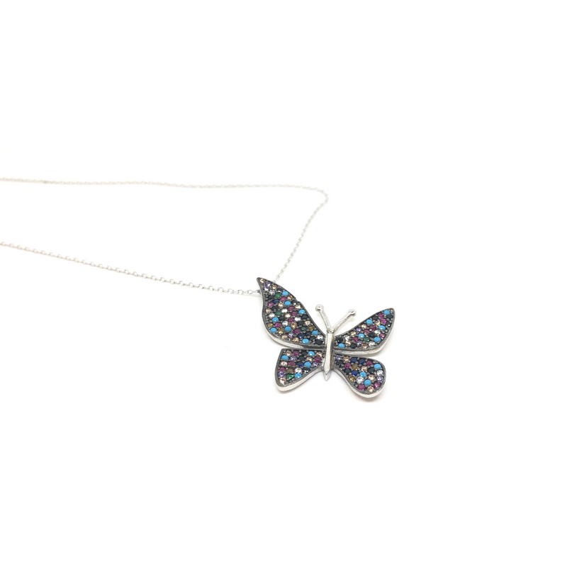 Sterling Silver Multi Coloured Cubic Zirconia Butterfly Necklace by Naked Nation