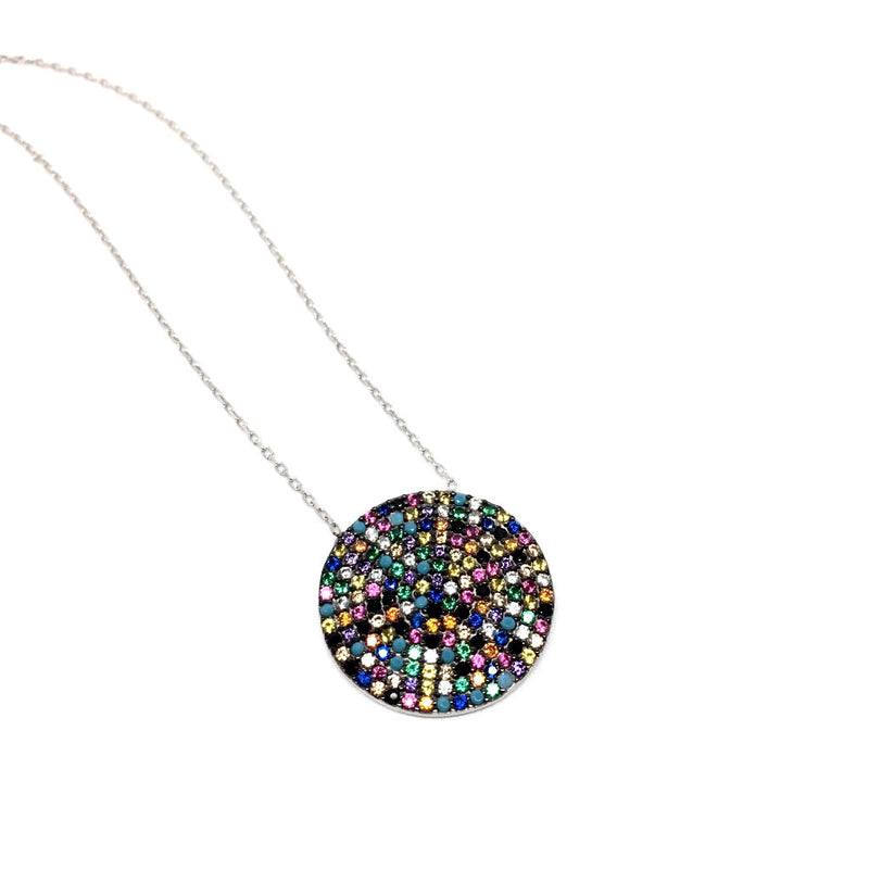 925 Sterling Silver Multicolour Round Pendant - Happiness Pendant