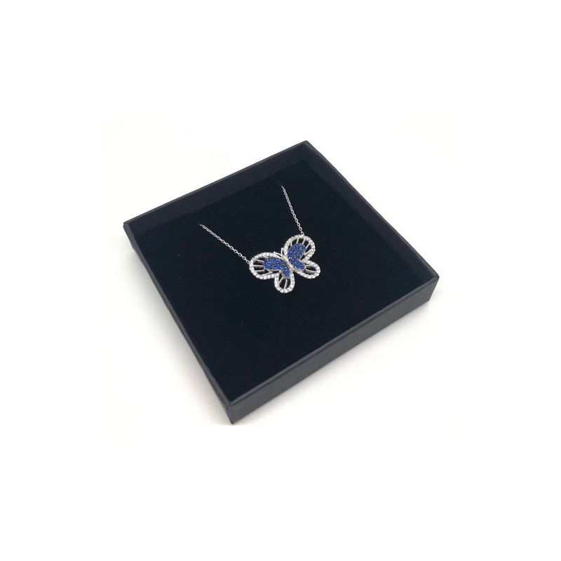 Sterling Silver Butterfly Pendant Necklace with Blue Crystals