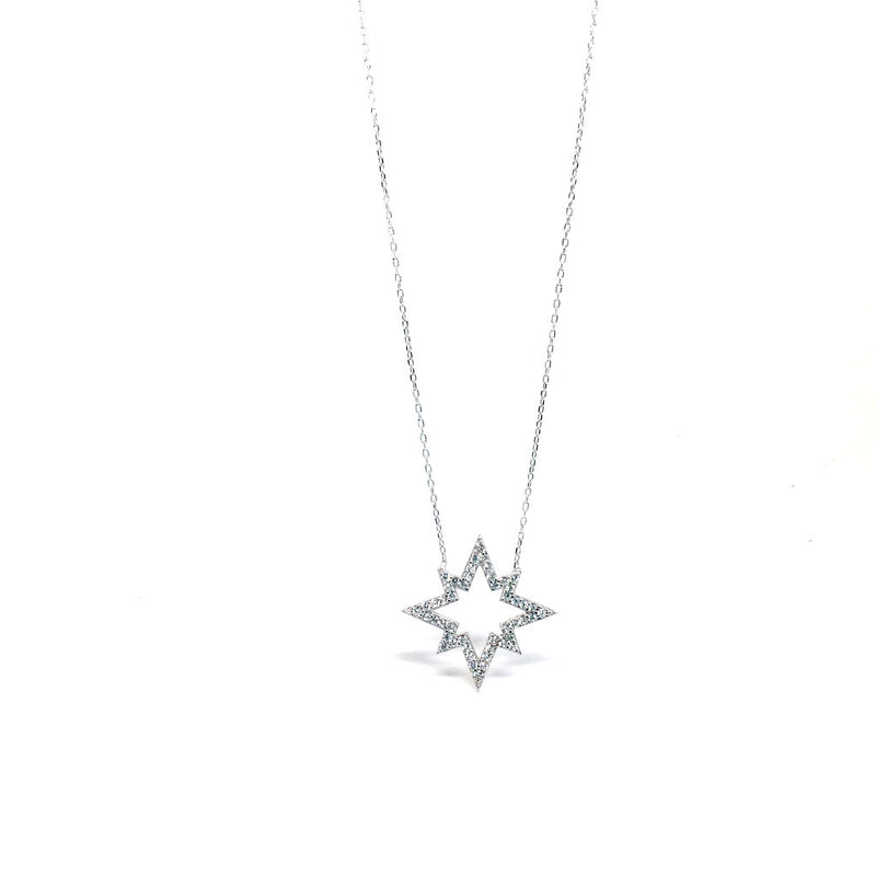 Rose Gold & Silver Star with Crystals Pendant. Two Colours Available.
